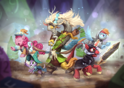 Size: 1920x1360 | Tagged: safe, artist:assasinmonkey, big macintosh, discord, pinkie pie, rainbow dash, spike, draconequus, dragon, earth pony, pegasus, pony, dungeons and discords, adventuring party, arrow, bard, bard pie, bow (weapon), bow and arrow, captain wuzz, clothes, dungeons and dragons, eyes closed, fantasy class, female, flying, garbuncle, group, hat, magic, male, mare, ogres and oubliettes, open mouth, parsnip, race swap, rainbow rogue, rogue, roleplaying, scene interpretation, signature, sir mcbiggen, staff, stallion, sword, unicorn big mac, weapon, wizard, wizard hat