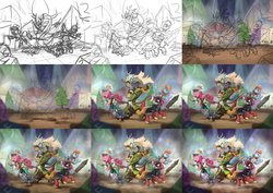 Size: 3600x2550   Tagged: safe, artist:assasinmonkey, big macintosh, discord, pinkie pie, rainbow dash, spike, earth pony, pony, unicorn, dungeons and discords, arrow, bard, bard pie, bow (weapon), bow and arrow, captain wuzz, clothes, dungeons and dragons, eyes closed, fantasy class, flying, garbuncle, group, hat, magic, male, ogres and oubliettes, open mouth, process, progress, race swap, rainbow rogue, rogue, roleplaying, signature, sir mcbiggen, sketch, staff, stallion, sword, unicorn big mac, weapon, wip, wizard, wizard hat