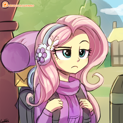 Size: 750x750 | Tagged: safe, artist:lumineko, fluttershy, dungeons and discords, equestria girls, backpack, clothes, equestria girls interpretation, female, fluttershy is not amused, patreon, patreon logo, raised eyebrow, scene interpretation, signature, solo, sweater, sweatershy, unamused, winter outfit