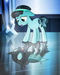 Size: 975x1219 | Tagged: artist:dsana, changeling, crying, crystal hoof, disguise, disguised changeling, duality, reflection, safe, the times they are a changeling, thorax