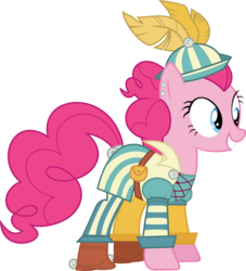 Size: 7611x8395 | Tagged: absurd res, artist:pink1ejack, bard, bard pie, clothes, dungeons and discords, dungeons and dragons, fantasy class, happy, inkscape, ogres and oubliettes, pinkie pie, roleplaying, safe, simple background, smiling, solo, transparent background, vector