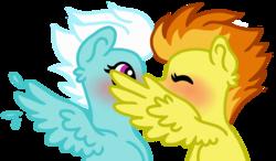 Size: 2422x1412 | Tagged: safe, artist:ivybrush, fleetfoot, spitfire, pony, blushing, female, fleetfire, kissing, lesbian, mare, shipping, wingboner