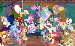 "Size: 1500x912 | Tagged: safe, artist:dm29, apple bloom, applejack, big macintosh, boulder (pet), cheerilee, coco pommel, crystal hoof, daring do, derpy hooves, discord, fluttershy, garble, gourmand ramsay, maud pie, pinkie pie, princess cadance, princess celestia, princess ember, princess flurry heart, princess luna, quibble pants, rainbow dash, rarity, saffron masala, shining armor, snowfall frost, spike, spirit of hearth's warming yet to come, starlight glimmer, sunburst, tender taps, thorax, trixie, twilight sparkle, zephyr breeze, alicorn, changeling, dragon, pony, zombie, 28 pranks later, a hearth's warming tail, applejack's ""day"" off, dungeons and discords, flutter brutter, gauntlet of fire, newbie dash, no second prances, on your marks, spice up your life, stranger than fan fiction, the cart before the ponies, the crystalling, the gift of the maud pie, the saddle row review, the times they are a changeling, angel rarity, backwards cutie mark, basketball, bathrobe, beach chair, bloodstone scepter, body pillow, broom, bubble, cheerileeder, cheerleader, clothes, cold, cookie zombie, couch, cracked armor, crossing the memes, cutie mark, dancing, devil rarity, discord's celestia face, disguise, disguised changeling, dragon lord spike, emble, female, filly, first half of season 6, garble's hugs, gordon ramsay, handkerchief, hat, hearth's warming, hiatus, jewelry, magic bubble, male, mane six, meme, menu, now you're thinking with portals, portal, present, rainbow trash, safety goggles, scroll, shipping, sick, speed racer, straight, sweeping, sweepsweepsweep, tenderbloom, the cmc's cutie marks, the meme continues, the story so far of season 6, this isn't even my final form, tiara, tissue, toolbelt, top hat, towel, trash can, twilight sparkle (alicorn), twilight sweeple, wall of tags, wonderbolts uniform"