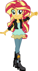 Size: 1478x2800 | Tagged: safe, artist:botchan-mlp, sunset shimmer, equestria girls, friendship games, boots, clothes, cute, dress, female, high heel boots, jacket, leather jacket, looking at you, pants, simple background, smiling, solo, transparent background, vector