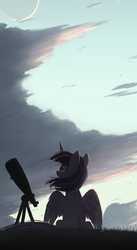 Size: 1098x2000 | Tagged: safe, artist:ncmares, twilight sparkle, alicorn, pony, beautiful, cloud, crescent moon, featured image, female, looking up, mare, moon, phone wallpaper, scenery, scenery porn, sitting, sky, solo, spread wings, stargazing, stars, telescope, twilight sparkle (alicorn), windswept mane
