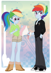 Size: 748x1068 | Tagged: artist:jaquelindreamz, bouquet, equestria girls, equestria guys, male, rainbow blitz, rainbow dash, rule 63, safe, selfcest, self paradox, self ponidox, shipping, straight, tsundere