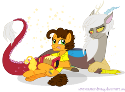 Size: 1041x767 | Tagged: accordion, artist:jaquelindreamz, boneless, cheesecord, cheese sandwich, discord, eris, eriswich, half r63 shipping, interspecies, male, musical instrument, rule 63, safe, shipping, straight