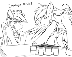 Size: 3496x2770 | Tagged: artist:ralek, beer pong, drinking, drool, drunk, gauges, headband, montage, oc, oc only, oc:turquoise, oc:umami stale, pegasus, piercing, pony, safe, training, whistle