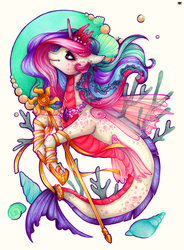 Size: 734x1000 | Tagged: safe, artist:madblackie, princess celestia, merpony, beautiful, color porn, ear piercing, earring, jewelry, modern art, nouveau, piercing, princess sealestia, sealestia, seaponified, seapony celestia, simple background, solo, species swap, staff, traditional art, white background
