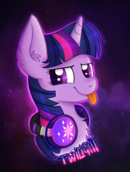 Size: 679x900 | Tagged: artist:falldust, chest fluff, cute, ear fluff, headphones, safe, smug, solo, space, tongue out, twilight sparkle