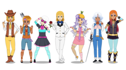 Size: 2262x1260 | Tagged: artist:kathara_khan, bandaid, boots, bowtie, braeburn, clothes, collar, converse, dark skin, dress, ear piercing, earring, gloves, group, hat, headband, headdress, human, humanized, jewelry, kisekae, little strongheart, midriff, miniskirt, pantyhose, photo finish, piercing, pleated skirt, pokey pierce, prince blueblood, propeller hat, rapier, safe, sassy saddles, screwball, shoes, simple background, skirt, smirk, sneakers, socks, striped pantyhose, striped socks, suit, sunglasses, sword, thigh highs, weapon, white background