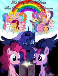 Size: 1024x1327 | Tagged: safe, artist:wolfram-and-hart, bon bon (g1), bright eyes, cheerilee (g3), clover (g1), melody, patch (g1), pinkie pie (g3), princess luna, rainbow dash (g3), scootaloo (g3), starlight (g1), starsong, sweetie belle (g3), toola roola, twilight sparkle, twinkle twirl, pony pov series, g1, g3, my little pony tales, core seven, misty, toola-roola