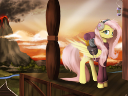 Size: 3326x2502 | Tagged: safe, artist:vinicius040598, fluttershy, dungeons and discords, bedroll, bottomless, clothes, crepuscular rays, earmuffs, female, folded wings, looking at you, partial nudity, saddle bag, scene interpretation, solo, sweater, sweatershy, train station, volcano