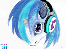 Size: 2048x1536 | Tagged: safe, artist:ciaran, derpibooru exclusive, dj pon-3, vinyl scratch, ear piercing, earring, headphones, jewelry, looking at you, piercing, simple background, solo
