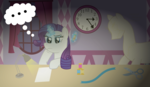 Size: 4738x2741 | Tagged: safe, artist:sketchmcreations, rarity, carousel boutique, clock, dark, dummy, inkscape, lamp, magic, mannequin, night, paper, pencil, ribbon, scissors, telekinesis, thinking, vector