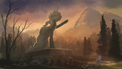 Size: 1280x720 | Tagged: dead source, safe, artist:shamanguli, princess celestia, twilight sparkle, alicorn, pony, unicorn, atg 2016, female, forest, mountain, newbie artist training grounds, scenery, solo, statue, twilight (astronomy), unicorn twilight
