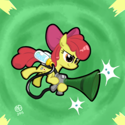 Size: 2048x2048 | Tagged: safe, artist:qzygugu, apple bloom, bloom and gloom, female, pest control gear, pest pony, solo, twitbuster apple bloom