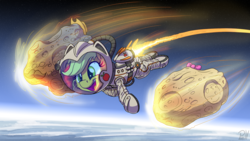 Size: 3264x1836 | Tagged: safe, artist:pirill, applejack, applejack's hat, applejack's parents, astronaut, bowtie, clothes, cowboy hat, floating, hat, meteor, newbie artist training grounds, space, spacesuit, wide smile