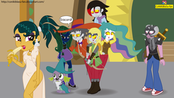 Size: 5739x3228 | Tagged: safe, artist:conikiblasu-fan, big macintosh, cleopatra jazz, discord, fluttershy, princess celestia, spike, dog, unicorn, dungeons and discords, equestria girls, absurd resolution, banana, boots, captain wuzz, clothes, discord's celestia face, equestria girls interpretation, equestria girls-ified, food, garbuncle, opposite fluttershy, race swap, scene interpretation, self ponidox, shoes, sir mcbiggen, skirt, socks, spike the dog, unicorn big mac, zoot suit