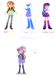 Size: 1084x1464 | Tagged: safe, artist:midnightdaydreamstar, sunset shimmer, trixie, twilight sparkle, equestria girls, fusion, gem fusion, multiple arms, twilight sparkle (alicorn), twilight's counterparts