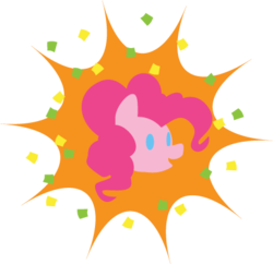 Size: 425x412 | Tagged: artist:quoting_mungo, bust, confetti, pinkie pie, portrait, safe, simple, simple background, solo, transparent background, vector