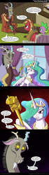 Size: 650x2329 | Tagged: safe, artist:deusexequus, big macintosh, discord, princess celestia, spike, earth pony, pony, dungeons and discords, comic, implied pegging, implied rape, male, scepter, stallion, twilight scepter