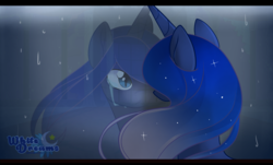 Size: 2372x1434 | Tagged: safe, artist:xwhitedreamsx, princess luna, crying, reflection, sad, solo