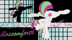 Size: 2560x1440 | Tagged: safe, artist:claritea, artist:murknl, blossomforth, pegasus, pony, female, flexible, floppy ears, mare, solo, splits, vector, wallpaper