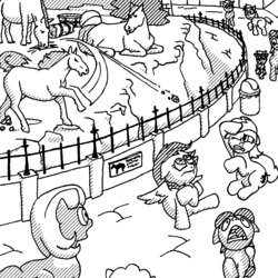Size: 4000x4000 | Tagged: safe, artist:billneigh, earth pony, horse, pegasus, pony, unicorn, :p, absurd resolution, angry, black and white, colt, d:, eating, female, floppy ears, frown, glare, grayscale, gritted teeth, hay, hiding, horse-pony interaction, horses doing horse things, licking, looking up, male, mare, monochrome, open mouth, poo flinging, poop, prone, raised hoof, running, screaming, shocked, shrunken pupils, sitting, smiling, spread wings, stallion, throwing, tongue out, trash can, wat, wide eyes, wings, zoo