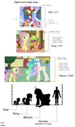 Size: 796x1349 | Tagged: safe, edit, edited screencap, screencap, apple bloom, fluttershy, princess celestia, scootaloo, twilight sparkle, alicorn, earth pony, human, pegasus, pony, unicorn, 8 foot candy cane, candy, candy cane, comparison chart, female, food, frown, grin, headcanon, hearth's warming eve, height, height difference, height scale, jewelry, looking down, looking up, mare, math, raised hoof, regalia, scale, silhouette, size chart, size comparison, smiling, standing, text