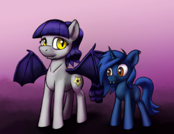 Size: 6600x5100   Tagged: safe, artist:warskunk, oc, oc only, oc:fruity blossom, oc:starlight blossom, bat pony, pony, unicorn, absurd resolution, fangs, female, filly, mother and daughter, simple background, species swap
