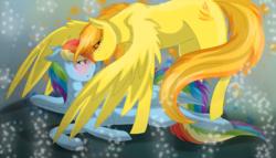 Size: 1737x997 | Tagged: safe, artist:scarletsfeed, rainbow dash, spitfire, pony, blushing, female, floppy ears, lesbian, mare, nuzzling, prone, shipping, spitdash, spread wings