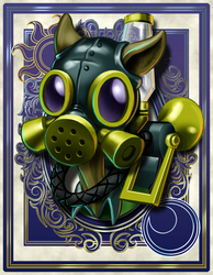 Size: 700x900 | Tagged: safe, artist:harwick, max raid, harwick's sun/moon portraits, bloom and gloom, bust, clothes, gas mask, male, pest pony, portrait, solo
