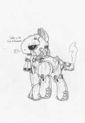 Size: 1020x1463 | Tagged: safe, artist:snytchell, fallout equestria, fallout, flamethrower, looking at you, monochrome, ponified, sentry bot, sketch, weapon