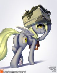 Size: 1280x1656 | Tagged: safe, alternate version, artist:northernsprint, derpy hooves, pegasus, pony, stranger than fan fiction, bubble butt, butt, cardboard box, clothes, cosplay, costume, dock, doctor cardboarderon, fake cutie mark, female, looking at you, looking back, looking back at you, patreon, patreon logo, plot, scarf, smiling, smiling at you, solo, underhoof
