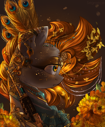 Size: 1024x1242 | Tagged: safe, artist:segraece, oc, oc only, oc:golden rain, peacock, pegasus, pony, ak-47, akm, assault rifle, beautiful, bust, clothes, detailed, feather, female, flower, flower in hair, glitter, gold, gun, gun engraving, jewelry, jewelry porn, looking away, mare, peacock feathers, portrait, profile, rifle, scratching, solo, weapon