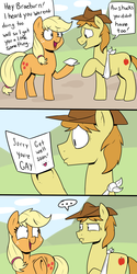 Size: 1000x2000 | Tagged: safe, artist:strangerdanger, applejack, braeburn, ..., accusation, bigotjack, card, comic, dialogue, duo, faic, female, freckles, gayburn, hat, homophobia, hoof hold, looking at each other, male, open mouth, raised hoof, sling, smiling, speech bubble, text, underhoof