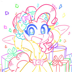 Size: 1280x1280 | Tagged: safe, artist:nichandesu, pinkie pie, spirit of hearth's warming presents, clothes, confetti, female, looking at you, present, robe, smiling, solo