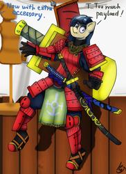 Size: 1600x2200 | Tagged: safe, artist:mopyr, oc, oc only, oc:camilia, anthro, anthro oc, armor, katana, offscreen character, samurai, solo, sword, weapon