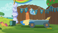 Size: 1920x1080 | Tagged: safe, screencap, rainbow dash, scootaloo, chicken, the cart before the ponies, cutie mark, discovery family logo, scootachicken, the cmc's cutie marks