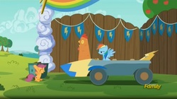 Size: 1655x927 | Tagged: safe, screencap, rainbow dash, scootaloo, chicken, the cart before the ponies, cute, cutie mark, discovery family logo, eyes closed, frown, glare, happy, open mouth, scootachicken, sitting, smiling, spread wings, the cmc's cutie marks, unamused