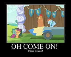 Size: 750x600 | Tagged: safe, rainbow dash, scootaloo, chicken, the cart before the ponies, cart, cutie mark, motivational poster, scootachicken, the cmc's cutie marks