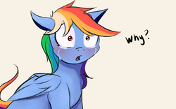 Size: 1920x1200   Tagged: safe, artist:miokomata, rainbow dash, crying, dialogue, female, open mouth, question mark, sad, solo, text