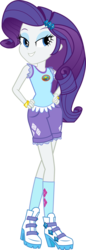 Size: 1014x2955 | Tagged: safe, artist:imperfectxiii, rarity, equestria girls, legend of everfree, bracelet, camp everfree logo, camp everfree outfits, clothes, cutie mark on clothes, hand on hip, high heels, jewelry, lidded eyes, looking at you, shorts, simple background, smiling, socks, solo, transparent background, vector