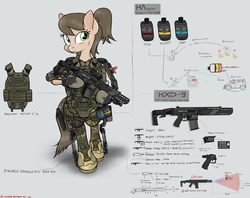 Size: 3015x2391 | Tagged: armor, artist:orang111, assault rifle, bipedal, concept, grenade, gun, hxd-9, oc, oc:antivols, oc only, pony, railgun, rifle, safe, solo, weapon