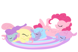 Size: 1200x800 | Tagged: safe, artist:otterlore, fluttershy, pinkie pie, sheep, spoiler:s03, crystal empire, ewe, simple background, tiny ewes, white background