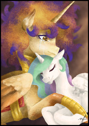 Size: 800x1131 | Tagged: safe, artist:fafanny15, princess celestia, oc, oc:queen galaxia, celestia and luna's mother, crying, cuddling, eyes closed, like mother like daughter, like parent like child, mother and daughter, smiling, snuggling, tears of joy