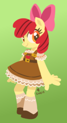 Size: 637x1173 | Tagged: safe, artist:needsmoarg4, apple bloom, anthro, adorabloom, clothes, cute, dress, red hair, red tail, solo, young
