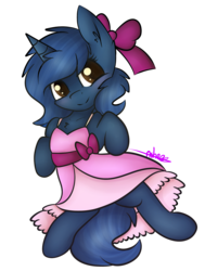 Size: 1741x2300   Tagged: safe, artist:ashee, oc, oc only, oc:starlight blossom, pony, unicorn, blushing, bow, clothes, cute, dress, female, filly, hair bow, simple background, solo, transparent background, young