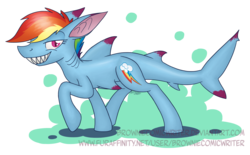 Size: 2424x1501 | Tagged: safe, artist:greenlinzerd, rainbow dash, original species, shark pony, abstract background, female, sharp teeth, solo, species swap, teeth